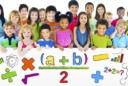 Diverse group kids holding math sign